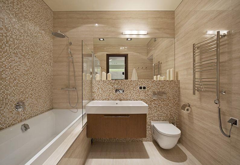 Дизайн бежевой ванной комнаты в хрущевке
