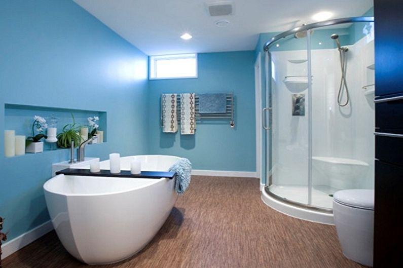 Дизайн синей ванной комнаты - Отделка стен