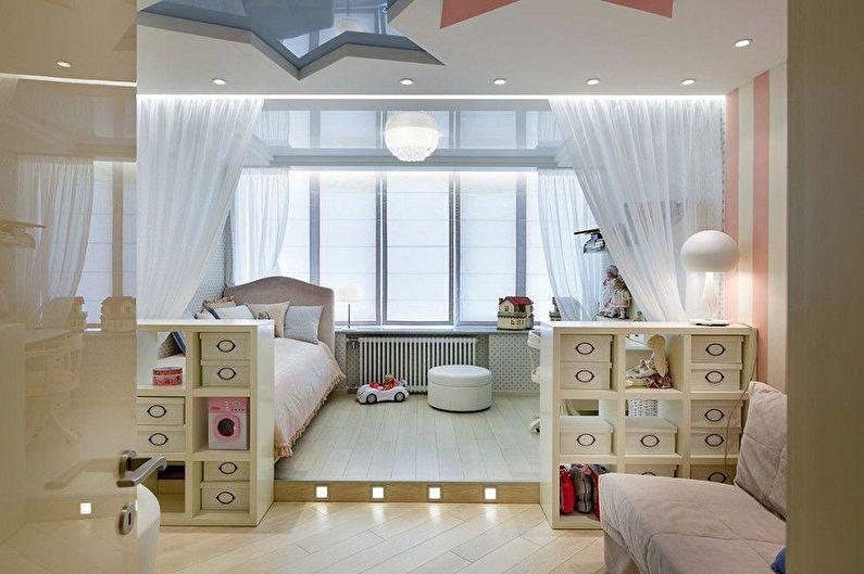 Как зонировать комнату для родителей и ребенка - Зонирование комнаты с обустройством подиума
